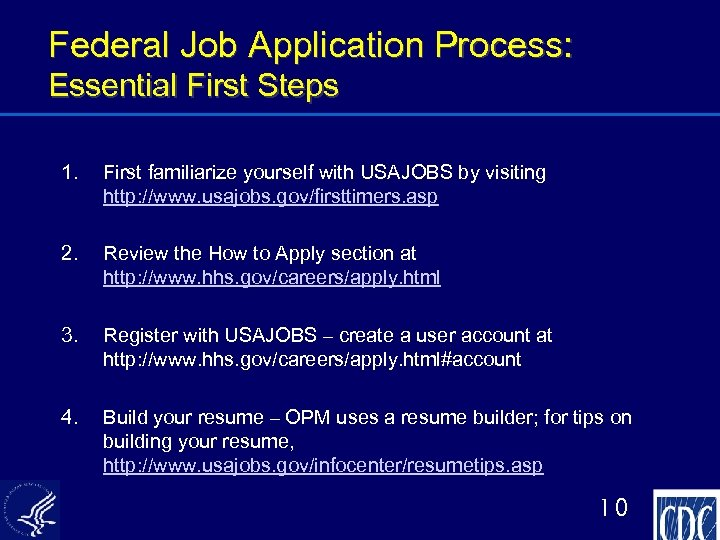 Federal Job Application Process: Essential First Steps 1. First familiarize yourself with USAJOBS by