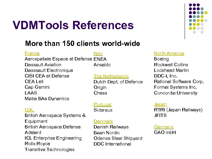 VDMTools References More than 150 clients world-wide France Aerospatiale Espace et Defense Dassault Aviation