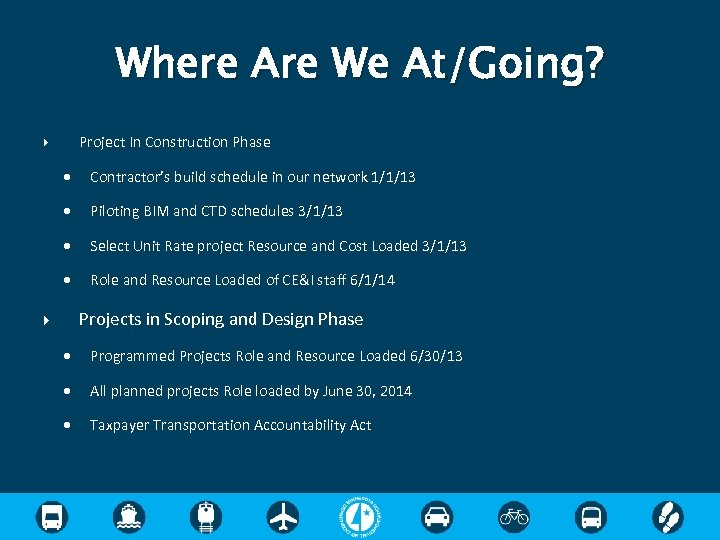 Where Are We At/Going? Project In Construction Phase Contractor's build schedule in our network