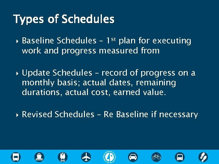 Types of Schedules Baseline Schedules – 1 st plan for executing work and progress