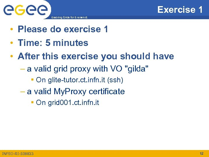 Exercise 1 Enabling Grids for E-scienc. E • Please do exercise 1 • Time: