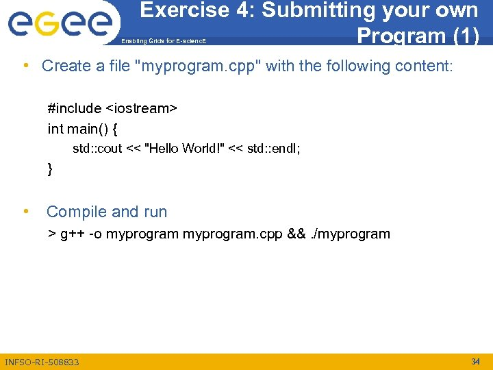Exercise 4: Submitting your own Program (1) Enabling Grids for E-scienc. E • Create