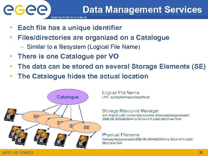 Data Management Services Enabling Grids for E-scienc. E • Each file has a unique