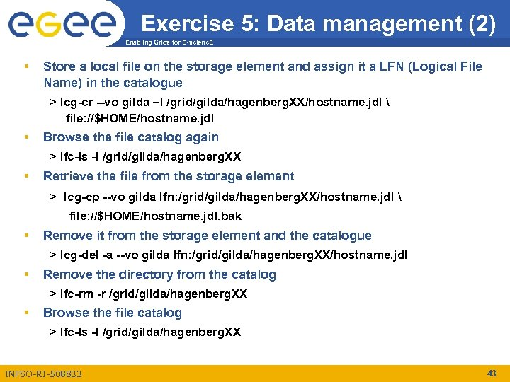 Exercise 5: Data management (2) Enabling Grids for E-scienc. E • Store a local