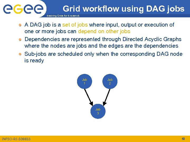 Grid workflow using DAG jobs Enabling Grids for E-scienc. E A DAG job is