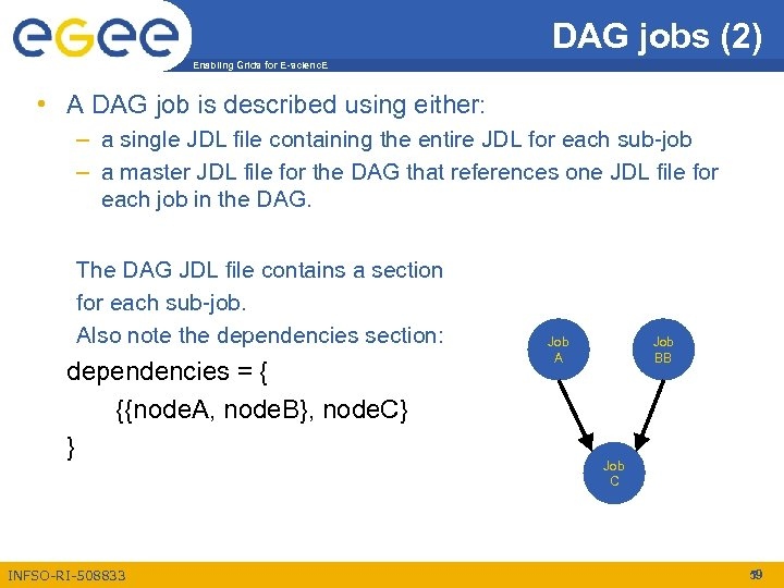 DAG jobs (2) Enabling Grids for E-scienc. E • A DAG job is described
