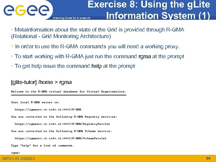 Exercise 8: Using the g. Lite Information System (1) Enabling Grids for E-scienc. E