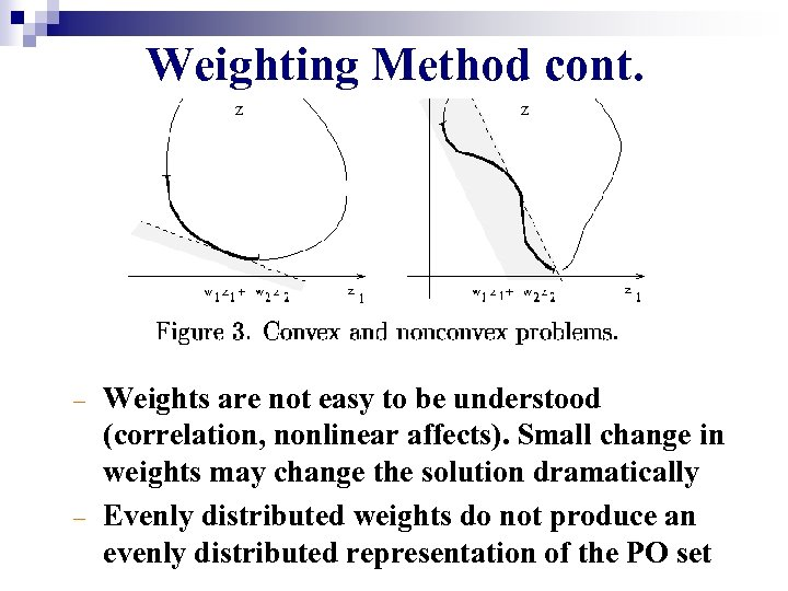 Weighting Method cont. – – Weights are not easy to be understood (correlation, nonlinear