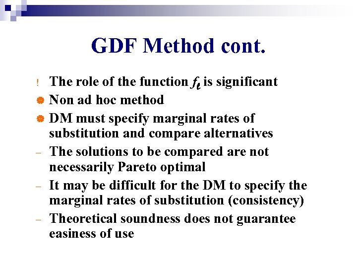 GDF Method cont. The role of the function fl is significant | Non ad
