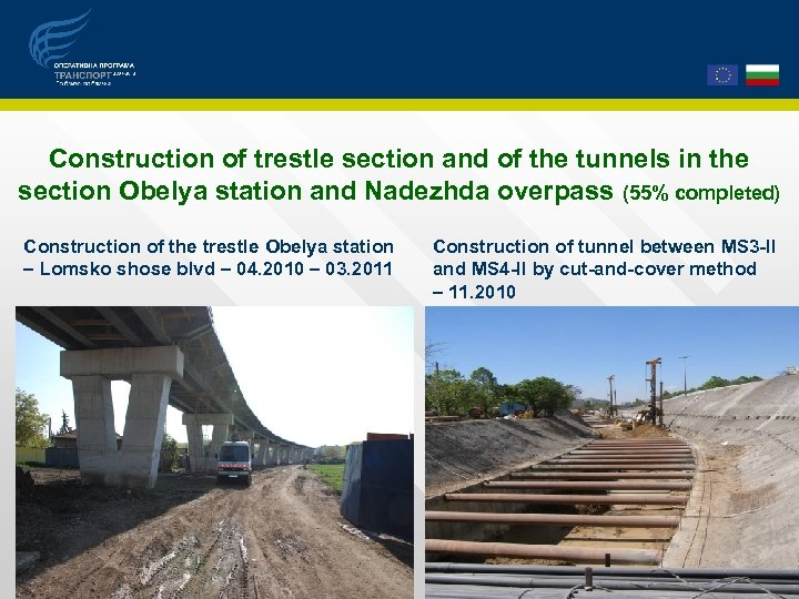 Construction of trestle section and of the tunnels in the section Obelya station and