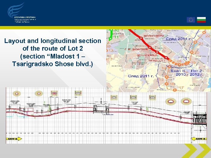 """Layout and longitudinal section of the route of Lot 2 (section """"Mladost 1 –"""