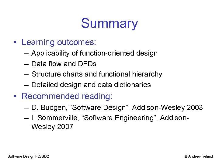 Function Oriented Design Andrew Ireland School Of Mathematical