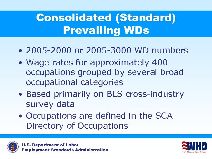 Consolidated (Standard) Prevailing WDs • 2005 -2000 or 2005 -3000 WD numbers • Wage