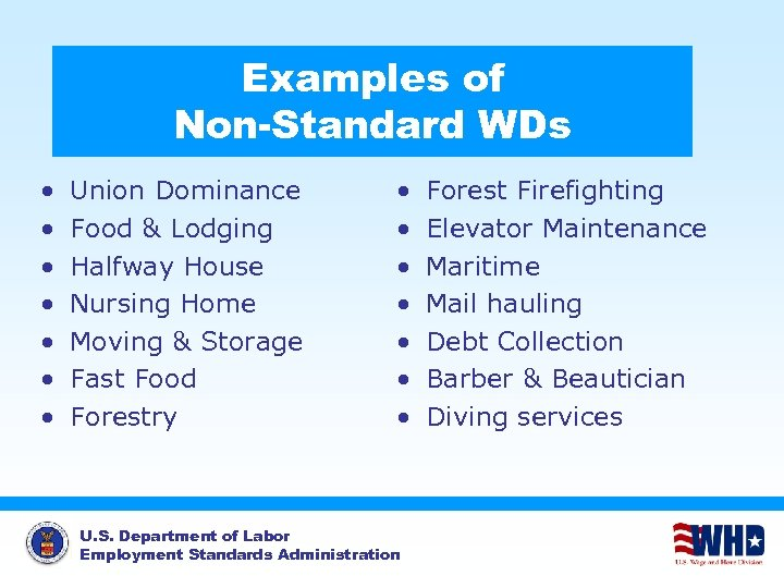 Examples of Non-Standard WDs • • Union Dominance Food & Lodging Halfway House Nursing