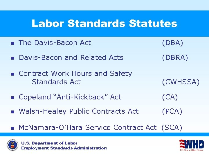 Labor Standards Statutes n The Davis-Bacon Act (DBA) n Davis-Bacon and Related Acts (DBRA)
