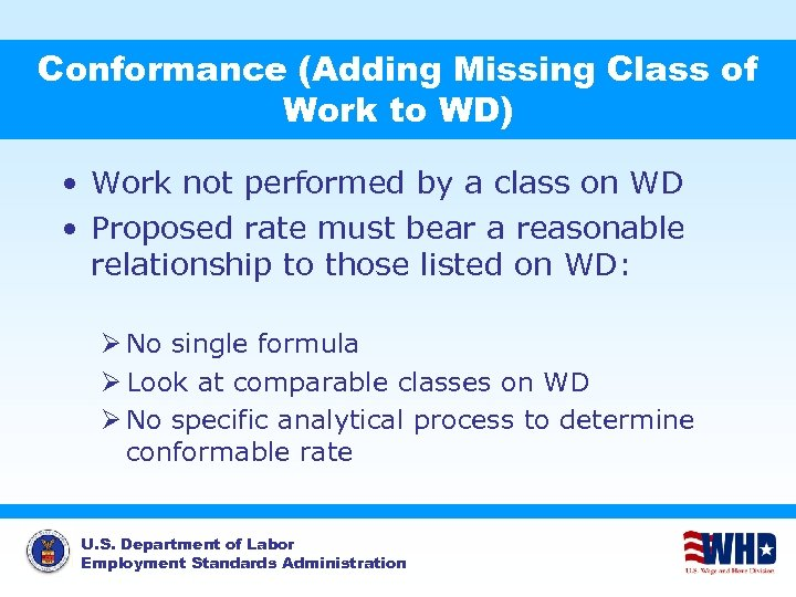 Conformance (Adding Missing Class of Work to WD) • Work not performed by a
