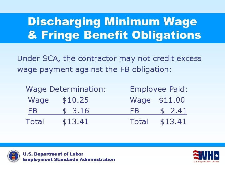 Discharging Minimum Wage & Fringe Benefit Obligations Under SCA, the contractor may not credit