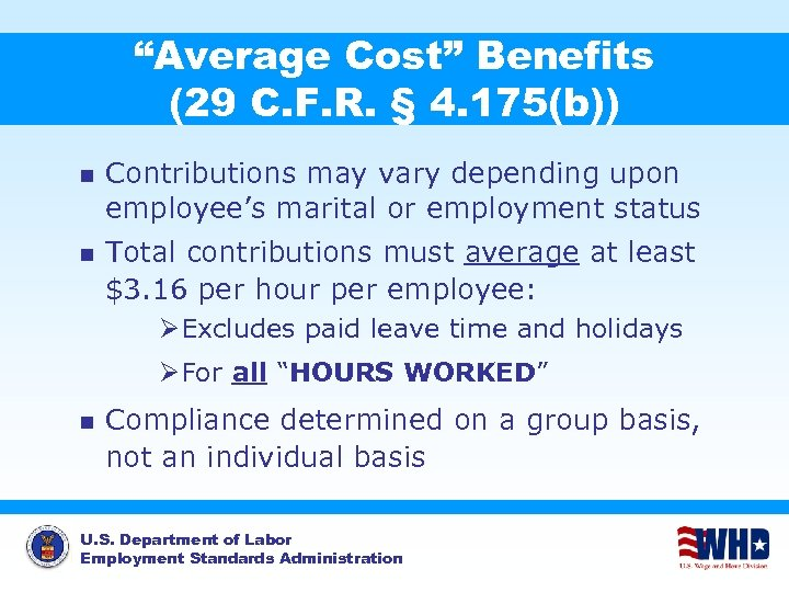"""""""Average Cost"""" Benefits (29 C. F. R. § 4. 175(b)) n Contributions may vary"""