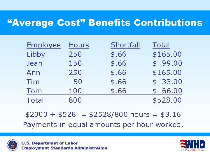 """""""Average Cost"""" Benefits Contributions Employee Libby Jean Ann Tim Total Hours 250 150 250"""