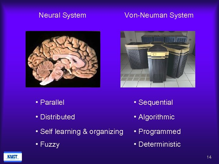 Neural System Von-Neuman System • Parallel • Sequential • Distributed • Algorithmic • Self