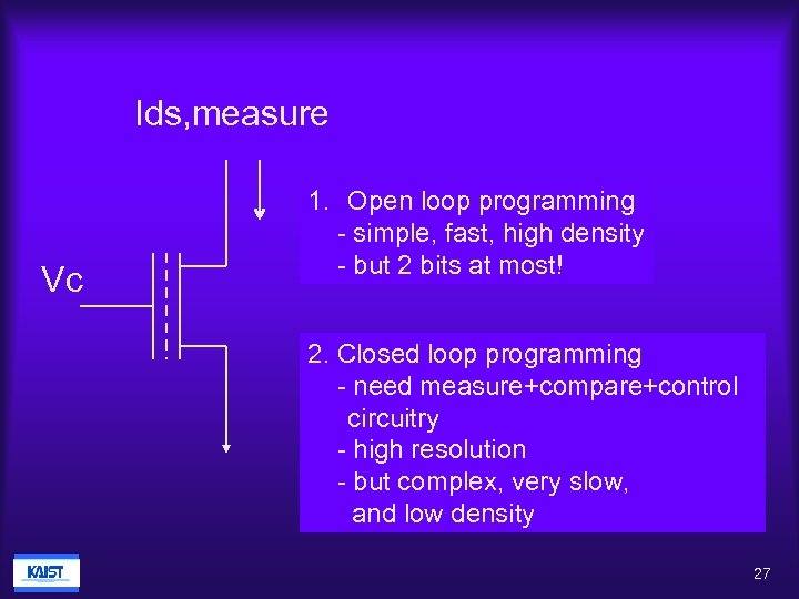 Ids, measure Vc 1. Open loop programming - simple, fast, high density - but