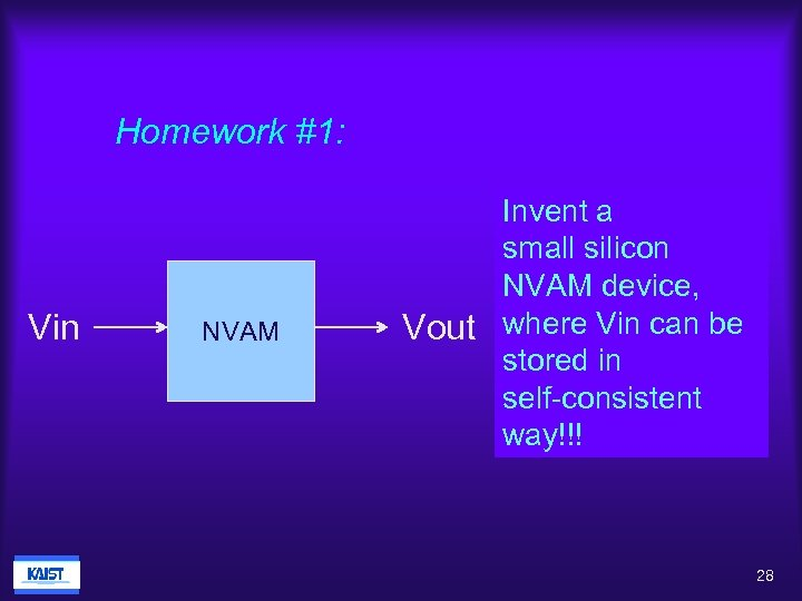 Homework #1: Vin NVAM Invent a small silicon NVAM device, Vout where Vin can