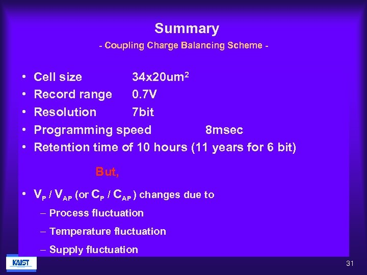 Summary - Coupling Charge Balancing Scheme - • • • Cell size 34 x
