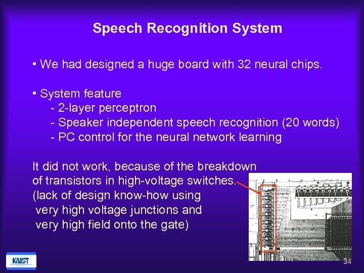 Speech Recognition System • We had designed a huge board with 32 neural chips.