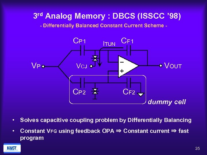 3 rd Analog Memory : DBCS (ISSCC ' 98) - Differentially Balanced Constant Current