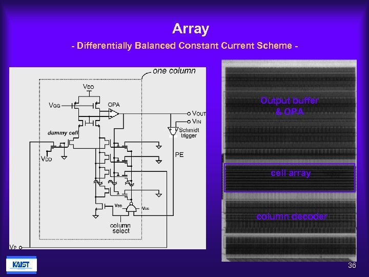 Array - Differentially Balanced Constant Current Scheme - Output buffer & OPA cell array