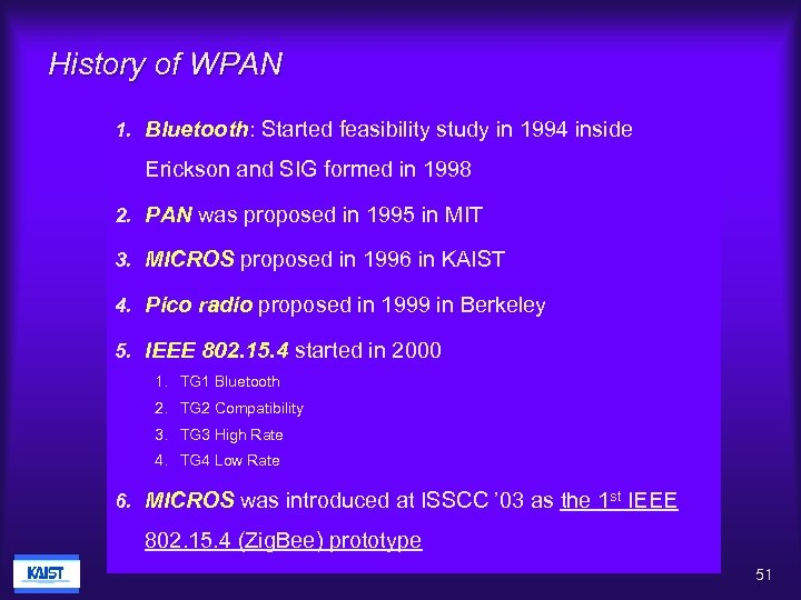 History of WPAN 1. Bluetooth: Started feasibility study in 1994 inside Erickson and SIG