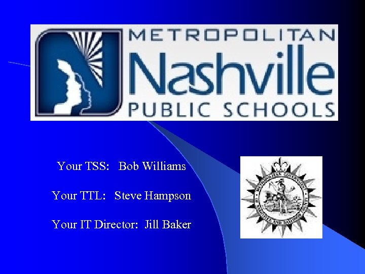 Your TSS: Bob Williams Your TTL: Steve Hampson Your IT Director: Jill Baker