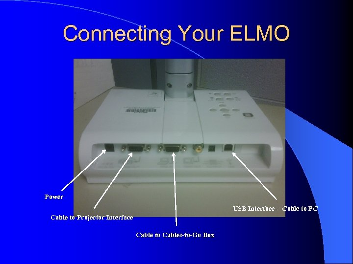 Connecting Your ELMO Power USB Interface - Cable to PC Cable to Projector Interface