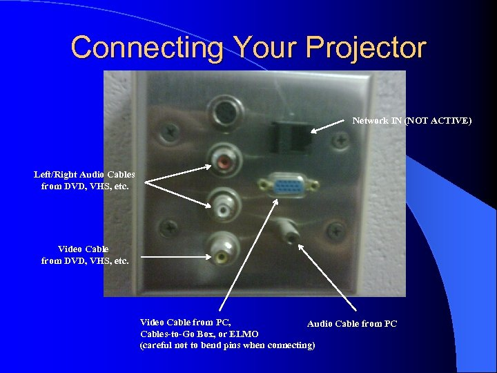 Connecting Your Projector Network IN (NOT ACTIVE) Left/Right Audio Cables from DVD, VHS, etc.