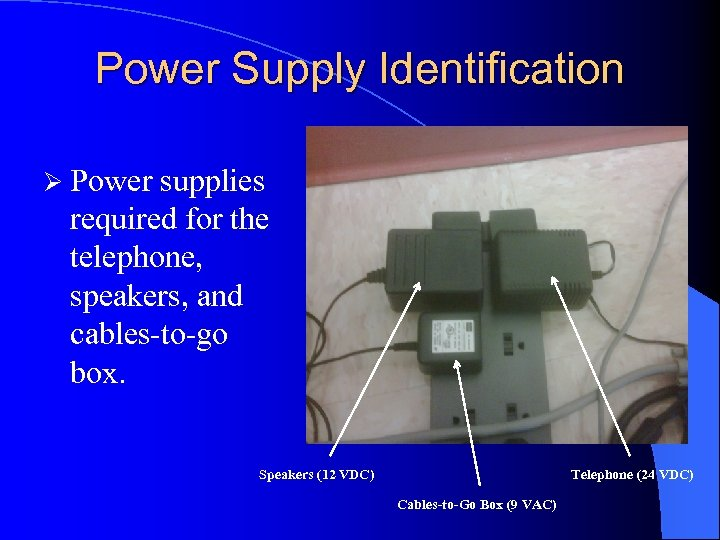 Power Supply Identification Ø Power supplies required for the telephone, speakers, and cables-to-go box.