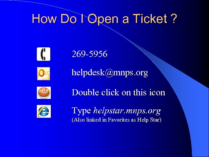 How Do I Open a Ticket ? 269 -5956 helpdesk@mnps. org Double click on