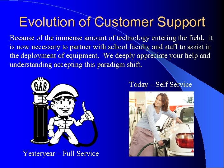 Evolution of Customer Support Because of the immense amount of technology entering the field,