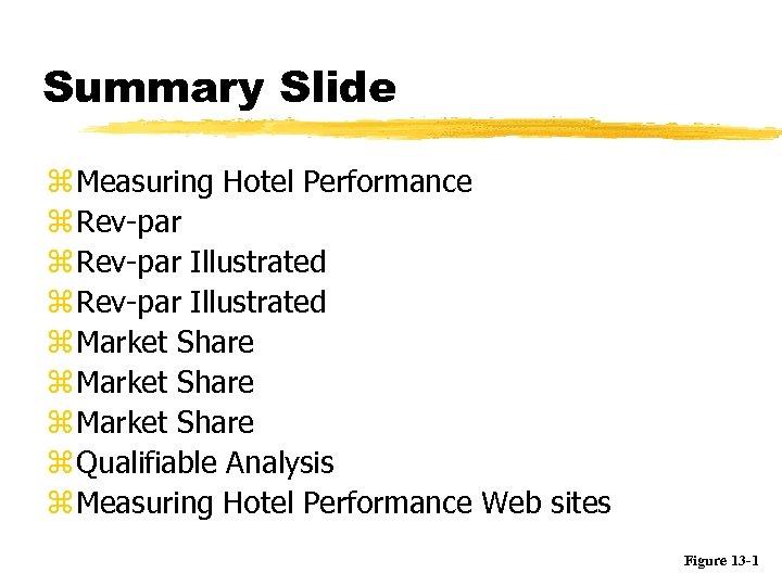 Summary Slide z Measuring Hotel Performance z Rev-par Illustrated z Market Share z Qualifiable