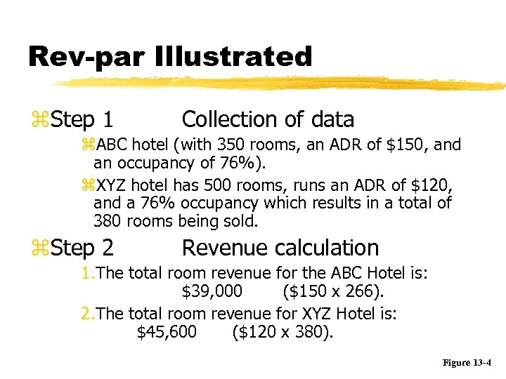 Rev-par Illustrated z. Step 1 Collection of data z. ABC hotel (with 350 rooms,