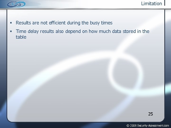 Limitation Results are not efficient during the busy times Time delay results also depend
