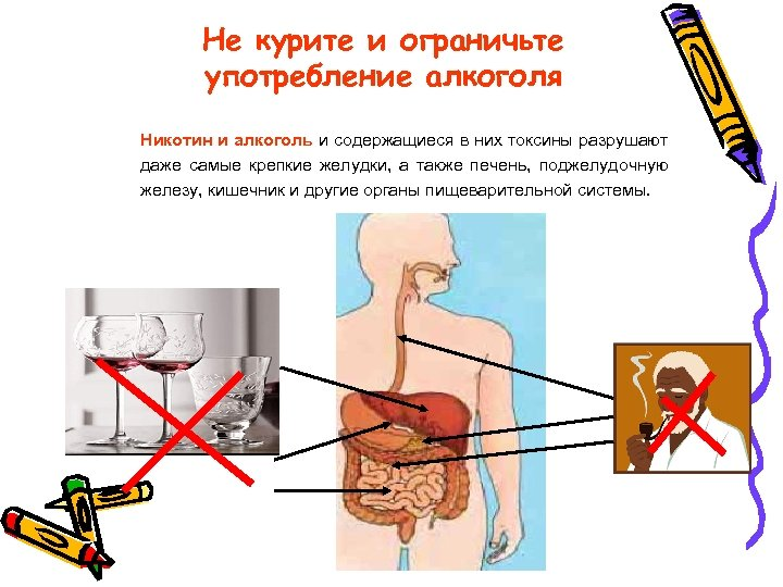 Не курите и ограничьте употребление алкоголя Никотин и алкоголь и содержащиеся в них токсины