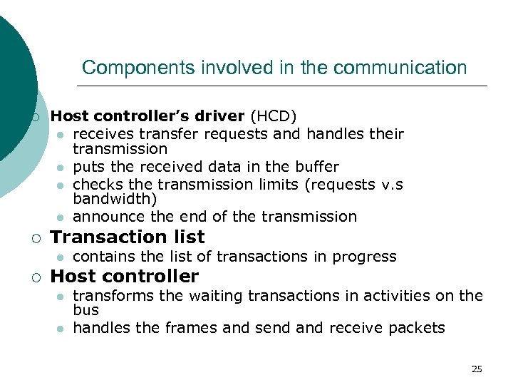 Components involved in the communication ¡ ¡ Host controller's driver (HCD) l receives transfer