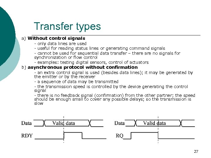 Transfer types a) Without control signals - only data lines are used - useful