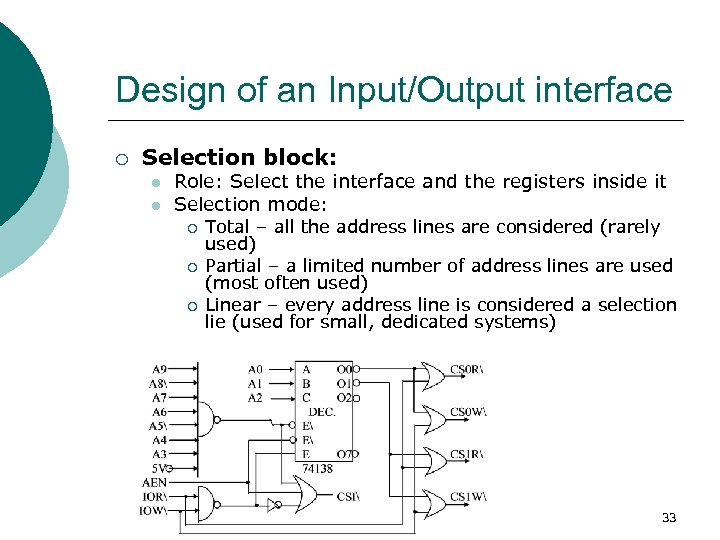 Design of an Input/Output interface ¡ Selection block: l l Role: Select the interface