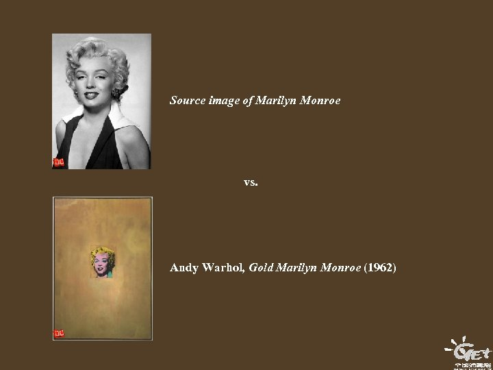Source image of Marilyn Monroe vs. Andy Warhol, Gold Marilyn Monroe (1962)