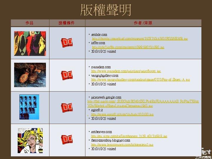 版權聲明 作品 授權條件 作者 /來源 • netdale. com http: //thumbs. imagekind. com/museum/350 X 350/AWI/JPGS/NR