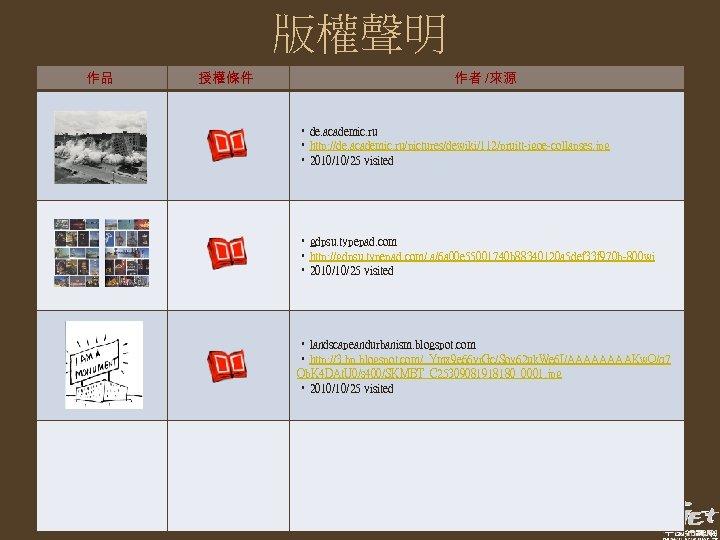 版權聲明 作品 授權條件 作者 /來源 • de. academic. ru • http: //de. academic. ru/pictures/dewiki/112/pruitt-igoe-collapses.