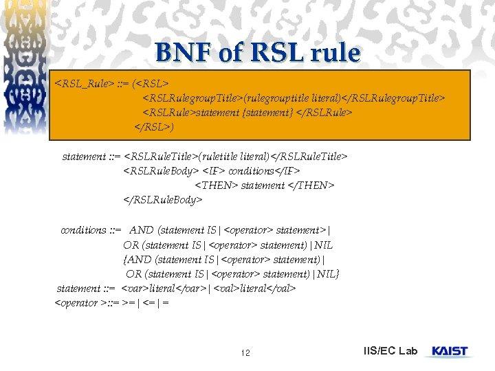 BNF of RSL rule <RSL_Rule> : : = (<RSL> <RSLRulegroup. Title>(rulegrouptitle literal)</RSLRulegroup. Title> <RSLRule>statement
