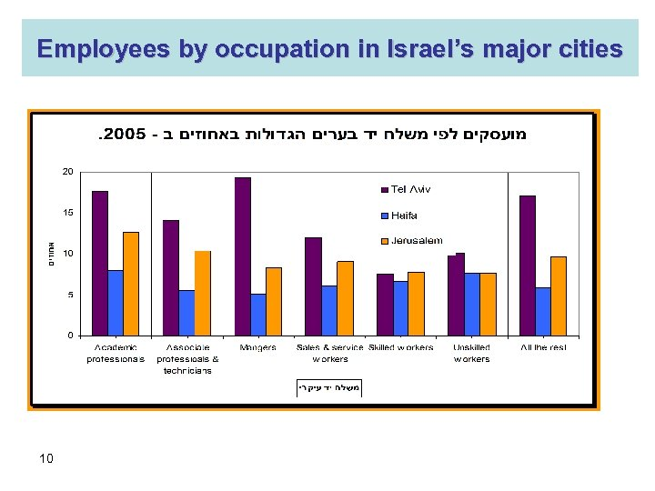 Employees by occupation in Israel's major cities 10