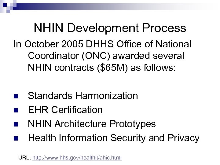 NHIN Development Process In October 2005 DHHS Office of National Coordinator (ONC) awarded several